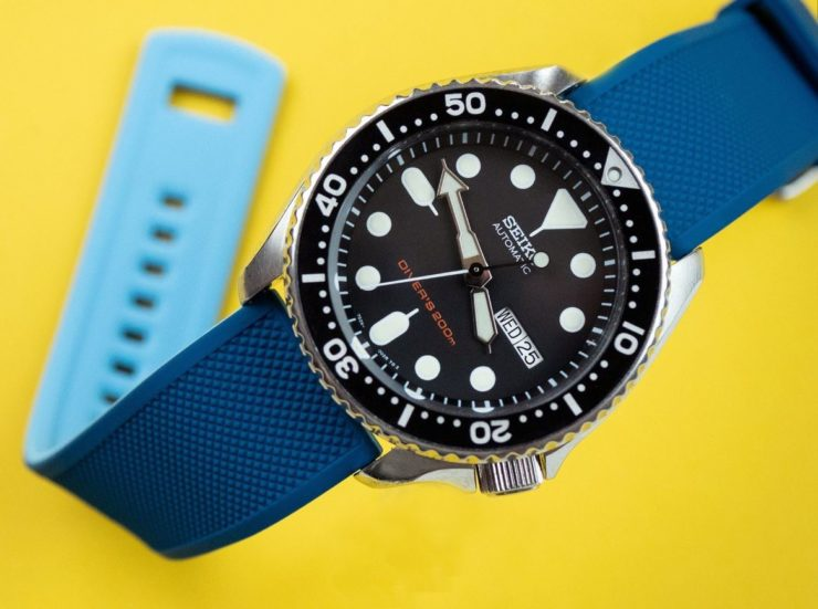 Barton Bands Blue Flatwater Silicone Quick Release Band on a Seiko SKX 007  Diver b23d6e6ce238