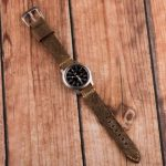 Clockwork Synergy Autumn Brown Suede Leather Band on a Seiko SNK 809 Watch