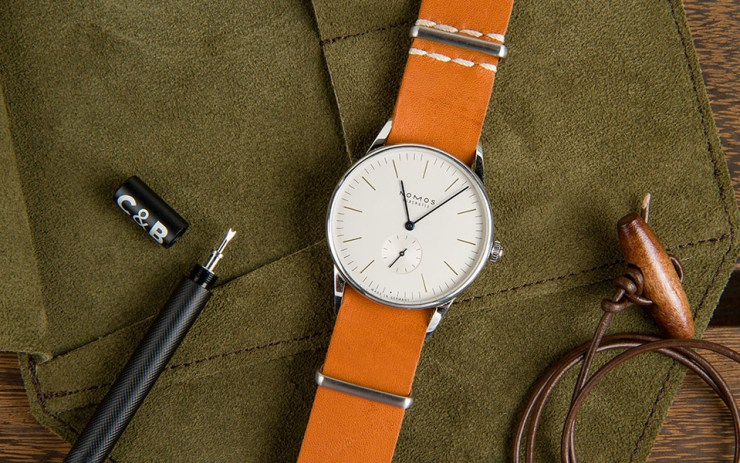 Crown & Buckle Tan Kangaroo Leather watch strap on Nomos Orion Watch