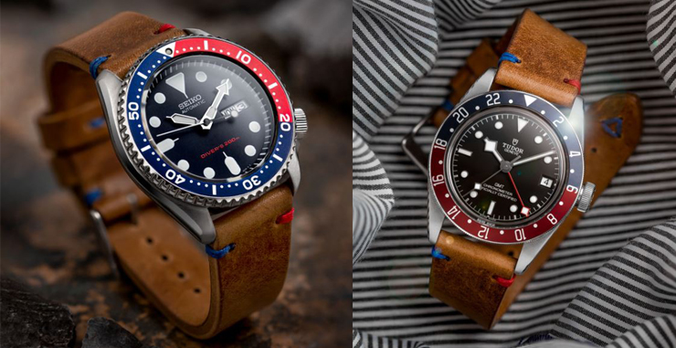 Watch Gecko Simple Handmade Italian Leather Strap on Seiko SKX009 and Tudor Black Bay
