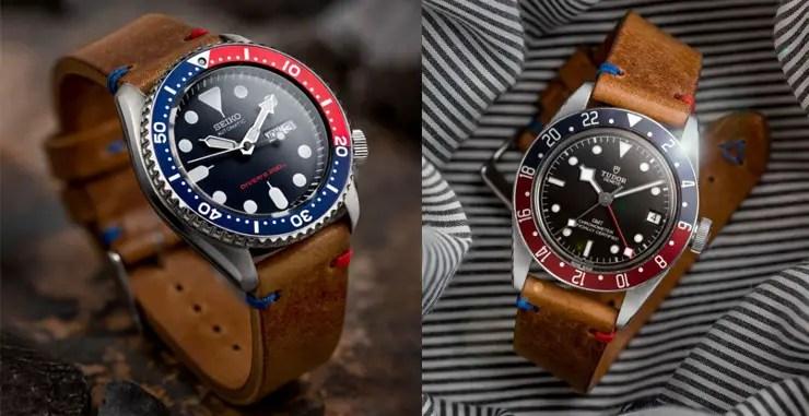 Watch Gecko Simple Handmade Italian Leather Strap on Seiko SKX009 and Tudor Black Bay