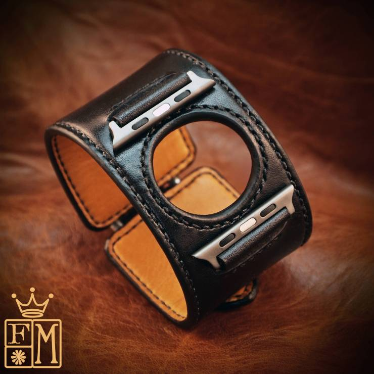 Custom Black Leather Apple Watch Strap by Freddie Matara