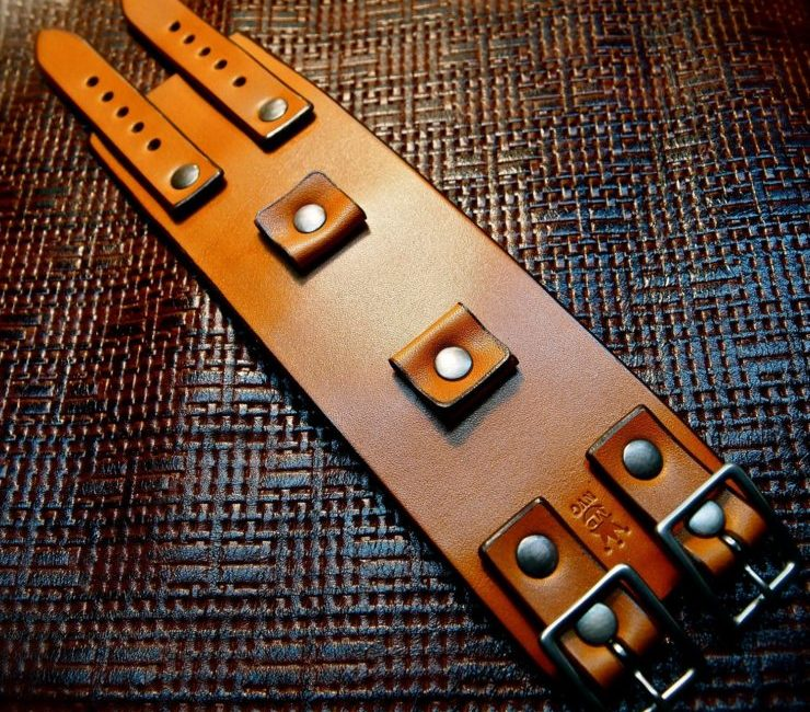 Custom Brown Leather Cuff Watch Strap by Freddie Matara
