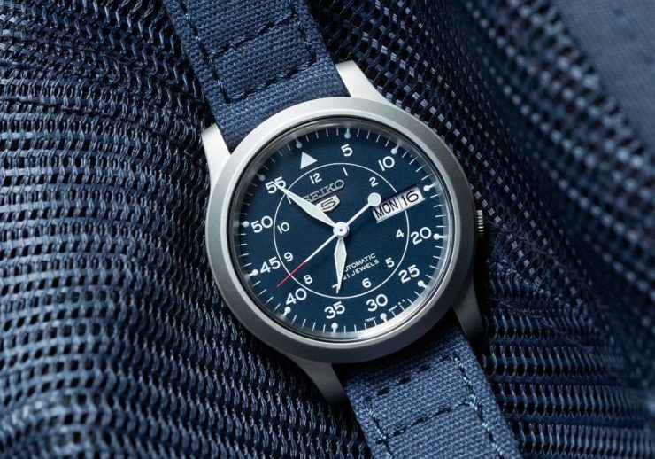 Barton Bands Blue Canvas Strap on a Seiko SNK 807