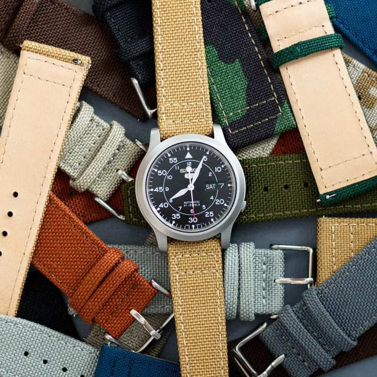 Clockwork Synergy Cordura Canvas straps on a Seiko SNK 809