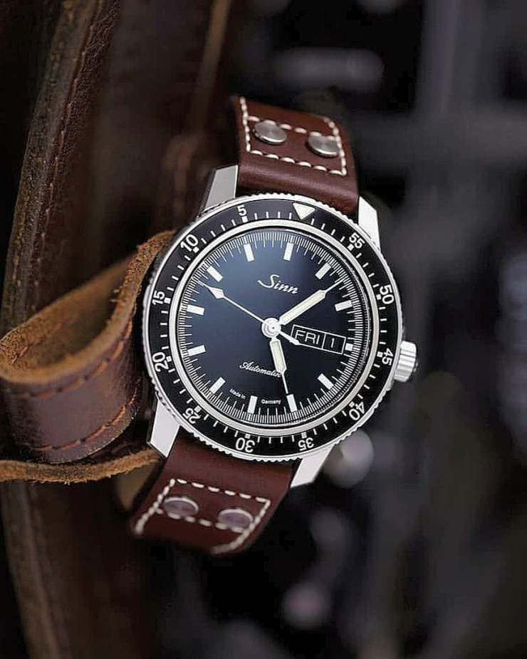 Bas & Lokes Pilot Strap on a Sinn 104 watch