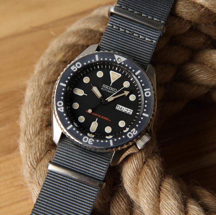 Crown & Buckle Gray NATO strap on a modded Seiko SKX 007 Diver