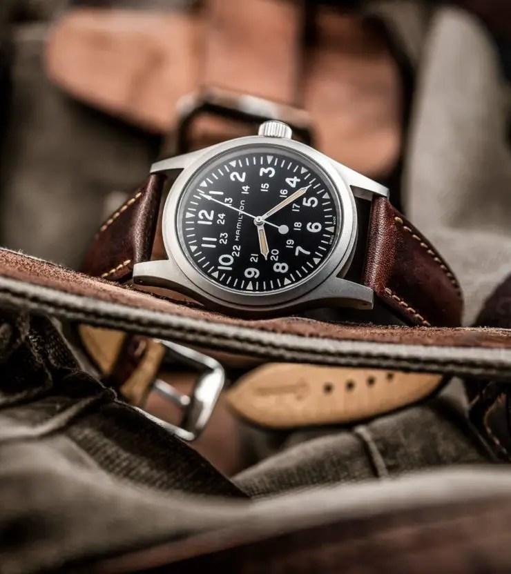 Watch Gecko Brown Kington Vintage Dress strap on a Hamilton Khaki Field Mechanical Watch H69429931