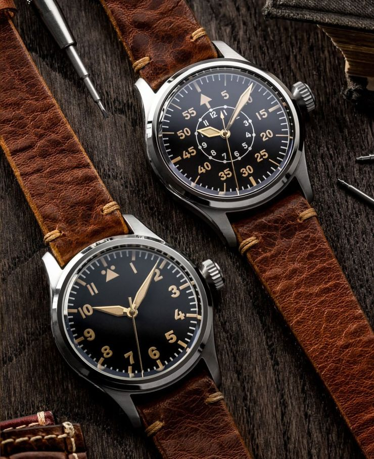 Watch Gecko Geckota K-01 Pilots Watch on a Geckota Winstone (MKII) Vintage Watch Strap