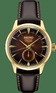 Seiko Presage Cocktail Time Power Reserve - Cloudy Black Dial - Gold Case - SSA392