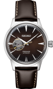 Seiko Presage Cocktail Time -Geocentric Black Dial on Leather - Open Heart - SSA407 - Mens