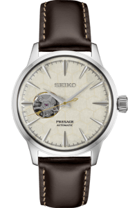 Seiko Presage Cocktail Time -Honeycomb Dial on Leather - Open Heart - SSA409 - Mens