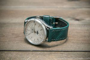 Custom emerald green lizard watch strap on a white dial Patek by Finwatchstraps