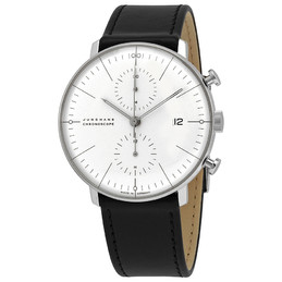 Junghans Max Bill Chronoscope White Dial Black Band