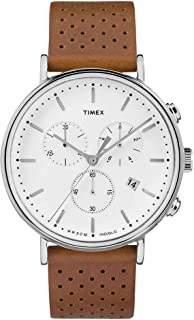 Timex Fairfield Chronograph White Dial Brown Strap