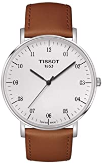 Tissot Everytime White Dial Black Hands Leather Bands