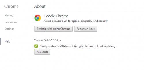 Relaunch Google Chrome