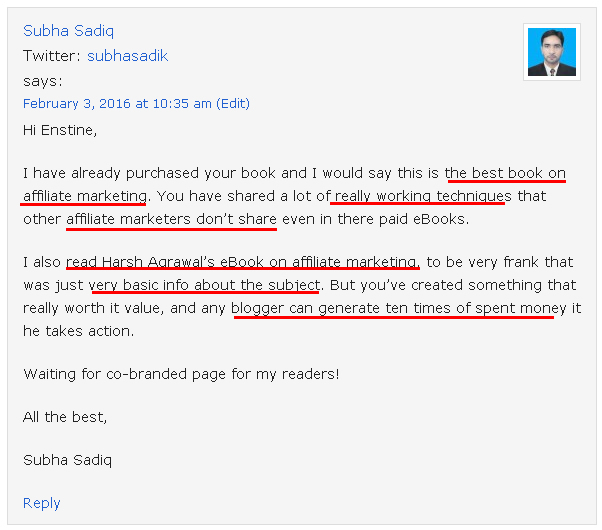 Testimonial for Affiliate Marketing Ebook