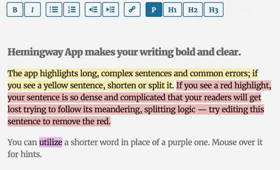 Hemingway App Writing Tool