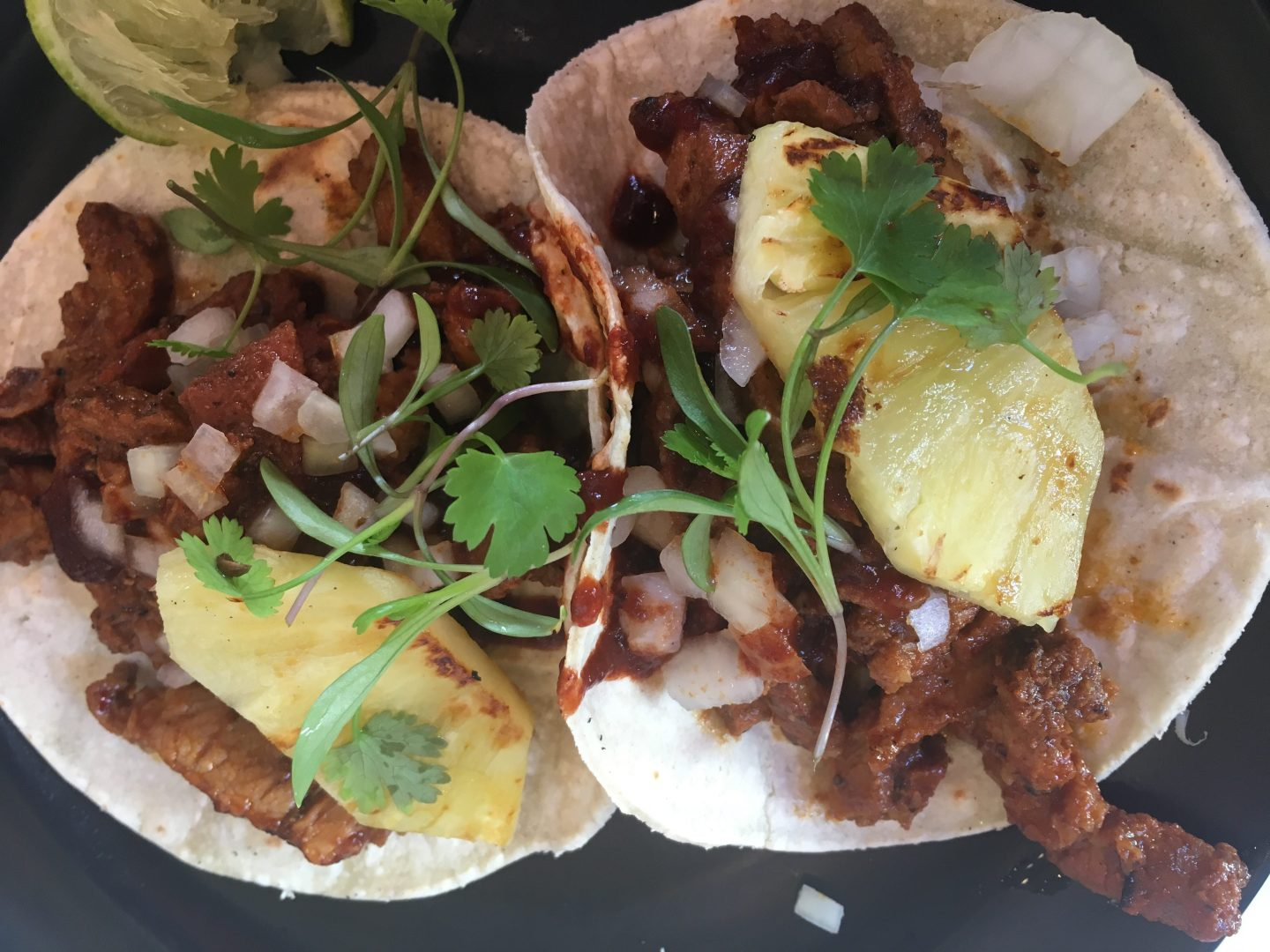 Tacos al pastor from Tacqueria in Notting Hill!