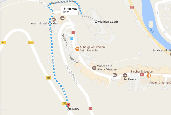 walking route to get the best view of vianden castle