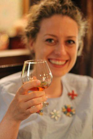 Trying brandy in Marrakech!