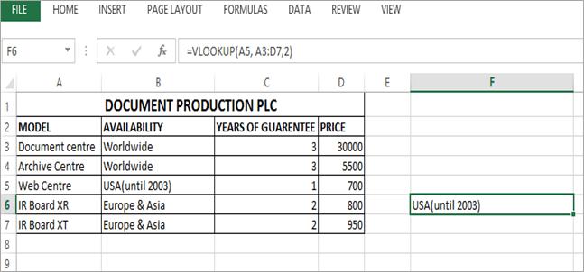 VLOOKUP Parameters example
