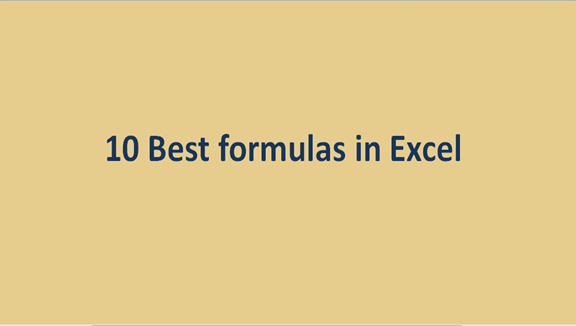 10 Best formulas in Excel