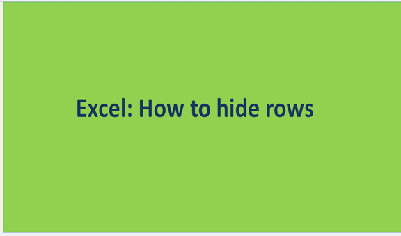 Excel: How to hide rows