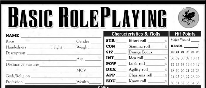 Character Sheets…