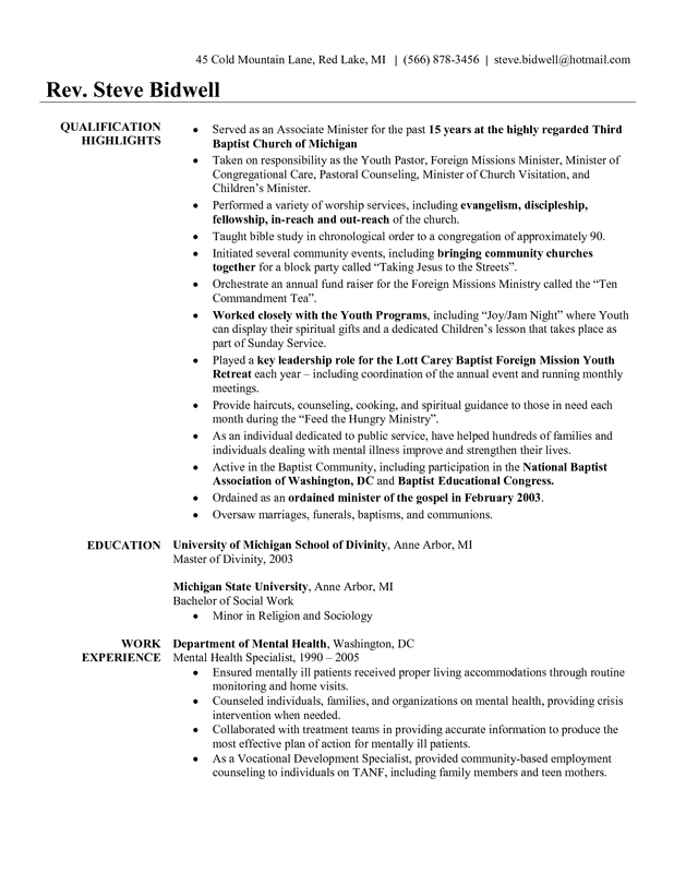 youth pastor resume cover letter