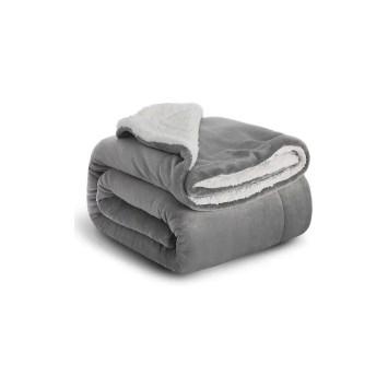 Grey Silver fleece throw