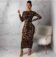 Women Leopard Long Sleeve Dress Evening Party Dresses Autumn Winter Bodycon Ankle-Length Slim Elegant High Waist AliExpress