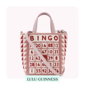 Blossom Mini Bingo Bibi Tote with bingo card design in pink red and white