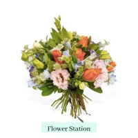 stem tied orange and white roses with pink and yellow flowers with greenery