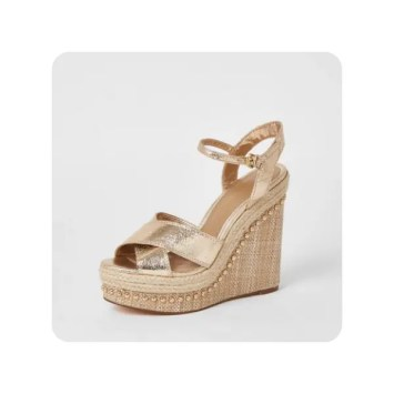 River Island Womens Gold Embellished Two Part Wedge Sandals