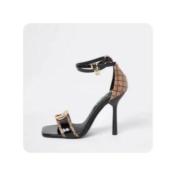 River Island Womens Black RI Monogram High Heels