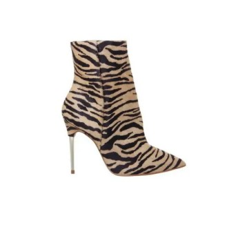 Aspire Metal Heel Point Boots Tiger Cow Hair