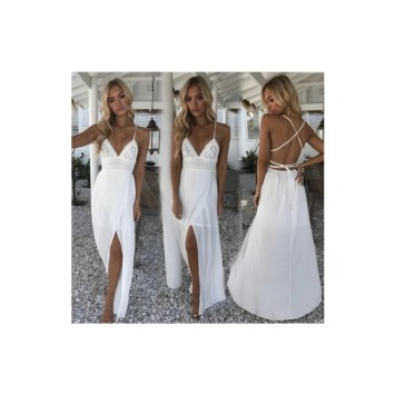White boho long maxi summer dress Aliexpress
