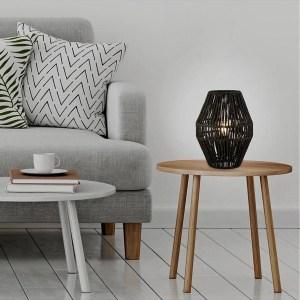 Samira Black Rattan Table Lamp