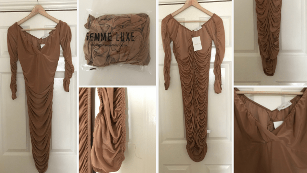 Mindy Ruched Bardot Bodycon Mini Dress Review Femme Luxe