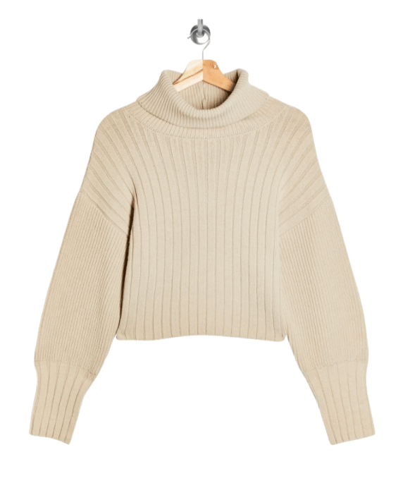 TopShop nude cropped sweater turtleneck