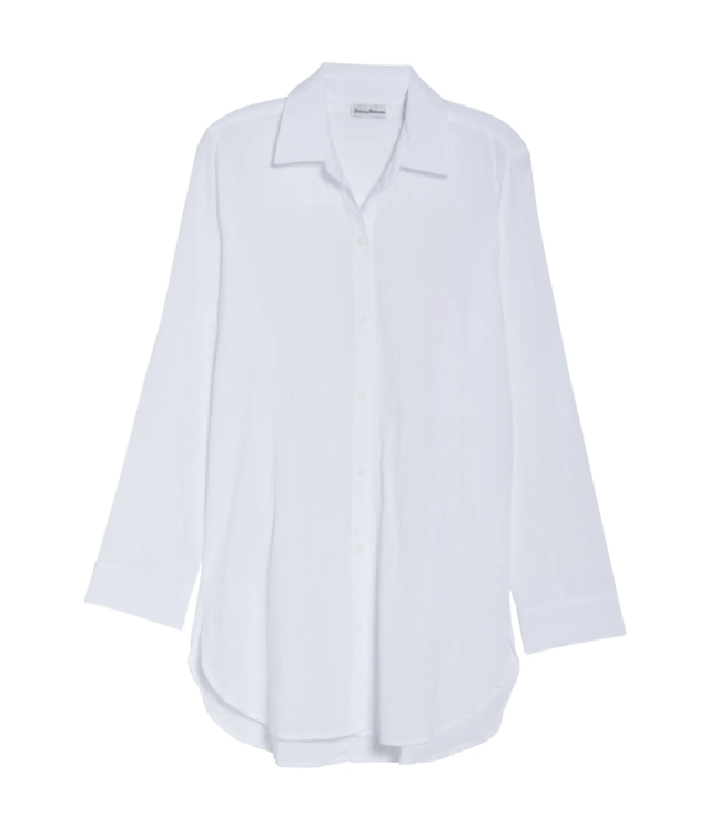 Classic oversized white button up for women