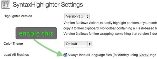 SyntaxHighlighter Settings