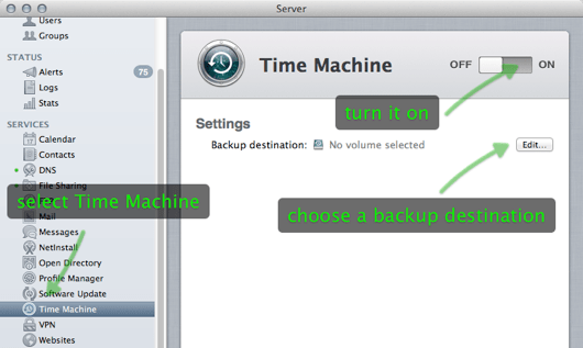 Time Machine server setup