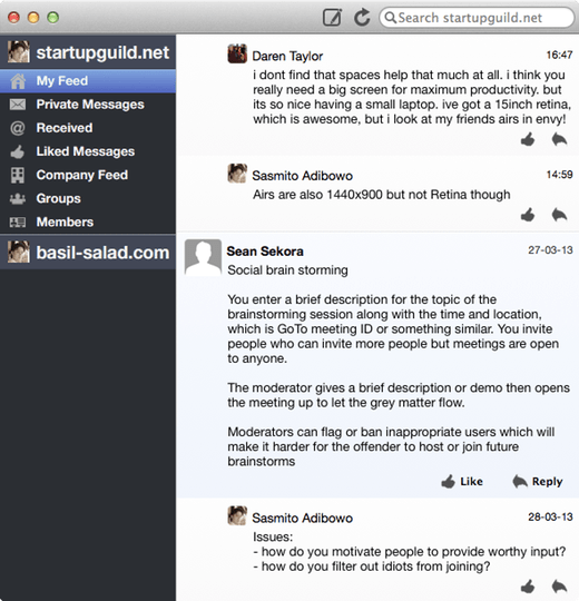 Scuttlebutt  Yammer client for Mac OS X