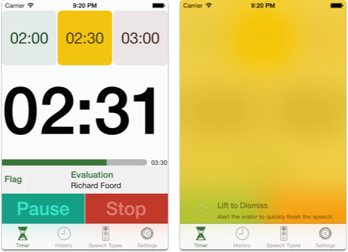 Speech Timer Flags Yellow