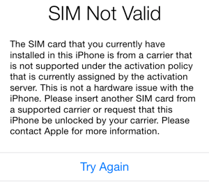IPhone SIM Not Valid error