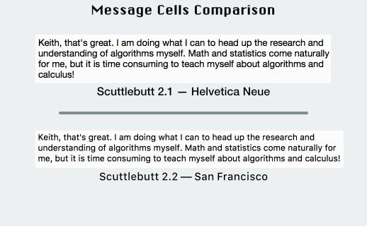 Scuttlebutt message cells comparison