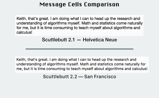 Scuttlebutt message cells comparison